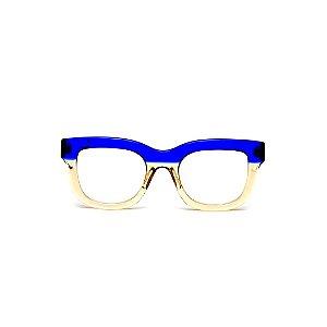 Armação para óculos de Grau Gustavo Eyewear G57 16. Cor: Azul e âmbar translúcido. Haste azul.