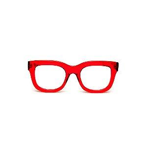 Armação para óculos de Grau Gustavo Eyewear G57 17. Cor: Vermelho translúcido. Haste animal print.