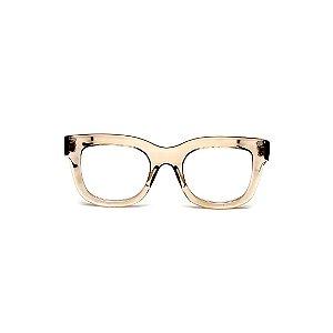 Armação para óculos de Grau Gustavo Eyewear G57 23. Cor: Fumê translúcido. Haste animal print.