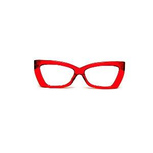 Armação para óculos de Grau Gustavo Eyewear G81 6. Cor: Vermelho translúcido. Haste animal print.