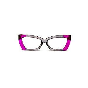 Armação para óculos de Grau Gustavo Eyewear G81 11. Cor: Violeta translúcido e fumê. Haste violeta.