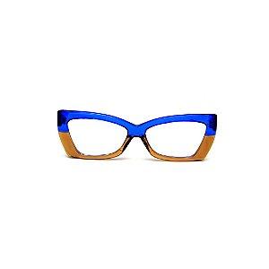 Armação para óculos de Grau Gustavo Eyewear G81 13. Cor: Azul translúcido e âmbar. Haste azul.