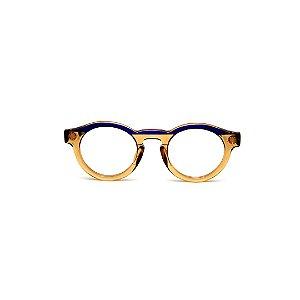 Armação para óculos de Grau Gustavo Eyewear G29 10. Cor: Âmbar e azul translúcido. Haste azul.