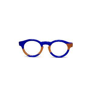 Armação para óculos de Grau Gustavo Eyewear G29 11. Cor: Azul e caramelo opaco. Haste animal print.
