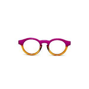 Armação para óculos de Grau Gustavo Eyewear G29 12. Cor: Violeta opaco e âmbar translúcido. Haste violeta.