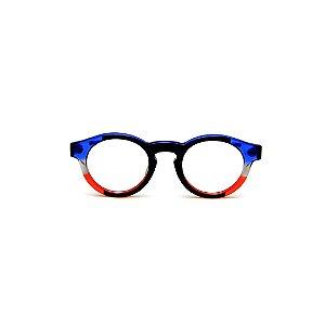 Armação para óculos de Grau Gustavo Eyewear G2918. Cor: Preto, azul, fumê e vermelho translúcido. Haste azul.