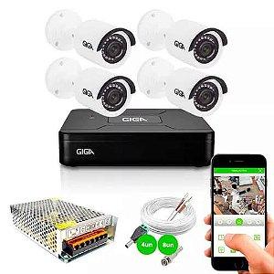 Kit 4 Câmeras de Segurança HD 720p Giga Security GS0018 + DVR Giga Security Multi HD + Acessórios
