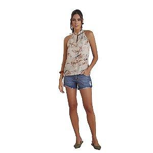 Short D'Metal Jeans Curto C/ Detalhe Pelo Avesso