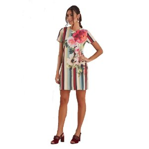 T-DRESS ESTAMPA LISTRA GISELE COM FLOR FRENTE