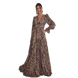 Vestido D'Metal Longo Estampa Onça C/ Saia Plissada