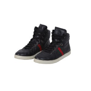TÊNIS GUCCI HIGH TOP GUCCISSIMA PRETO - USADO