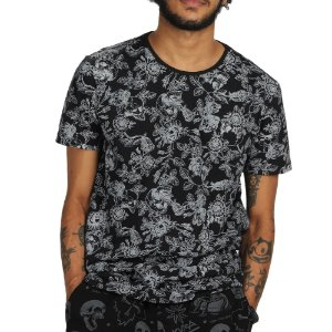 CAMISETA ID ESTAMPADA CAVERAS E ROSAS SLIM FIT