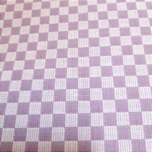Tecido Xadrez 100% Algodão para Bordar Roxo 1,40mt de Largura