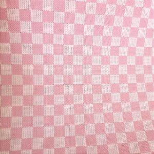 Tecido Xadrez 100% Algodão para Bordar Rosa 1,40mt de Largura
