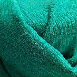 Atoalhado Microfibra Canelado Verde Bandeira 1,40mt de Largura