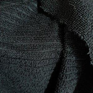 Atoalhado Microfibra Canelado Preto 1,40mt de Largura