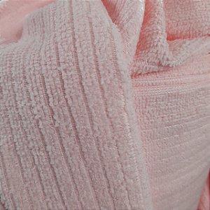 Atoalhado Microfibra Canelado Rosa Bebê 1,40mt de Largura