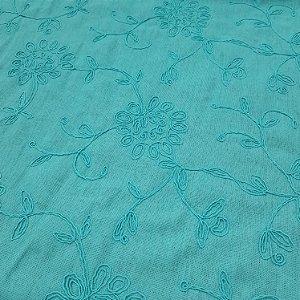 Linho Misto Bordado Verde Tiffany/Turquesa 1,30mt de Largura