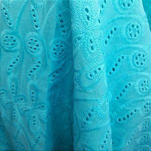 Laise 100% Algodão cor Azul Turquesa 1,30mt de Largura