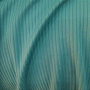 Malha Canelada Cor Azul Turquesa 1,50mt de Largura