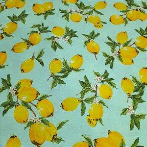 Tricoline Estampado Limão Siciliano 1,50mt de Largura