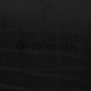 Voil Trabalhado Transparente Preto 3m de Largura