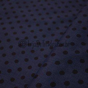 Tricoline Estampado Poá Médio Preto e Azul Marinho