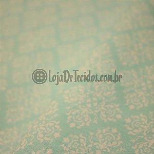 Tricoline Estampado Arabesco Médio Branco e Azul Claro