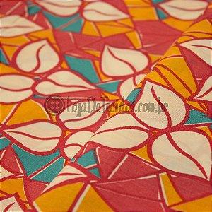 Tricoline Estampado Floral Vermelho