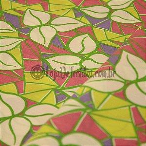Tricoline Estampado Floral Colorido Tons Verde