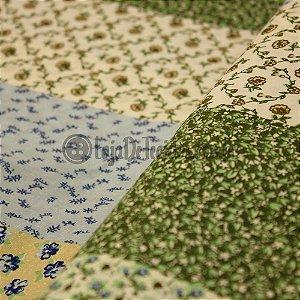 Tricoline Estampado Floral tons de Verde e Azul
