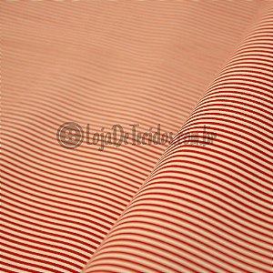 Tricoline Estampado Listrado Vermelho e Branco