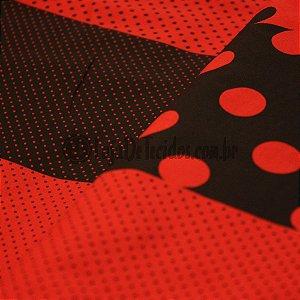 Tricoline Estampado Poá Vermelho Pequeno Patchwork