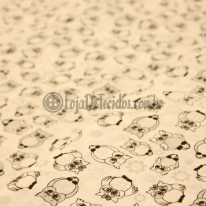 Tricoline Estampado Coruja Preta e Branco
