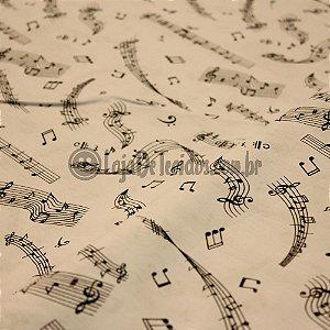 Tricoline Estampado Musical Preto e Branco