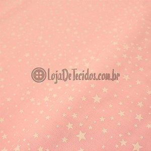 Tricoline Estampado Estrelas Rosa Claro