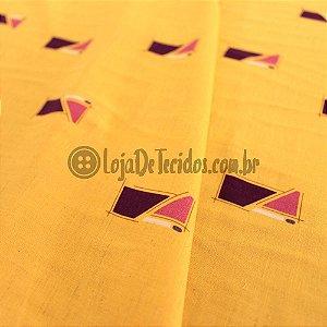 Viscose Estampada Amarelo 1,50m de Largura