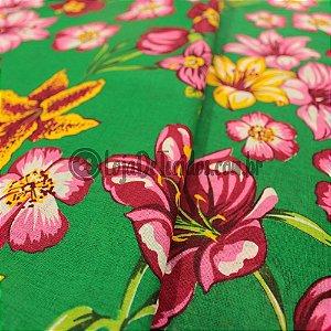 Tecido Chita Estampada Floral Verde 1,50m de Largura