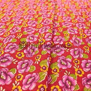 Chita Estampada Floral Rosa e Amarelo 1,50m de Largura