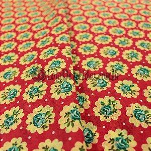 Chita Estampada Floral Vermelho e Verde Água 1,50m de Largura