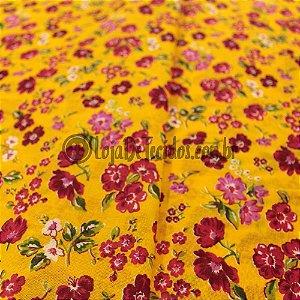 Chita Estampada Floral com Fundo Amarelo 1,50m de Largura