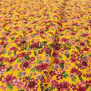 Chita Estampada Amarelo Flores Rosas 1,50m de Largura