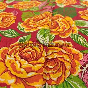 Chita Estampada Vermelho Floral Amarelo e Rosa 1,50m de Largura