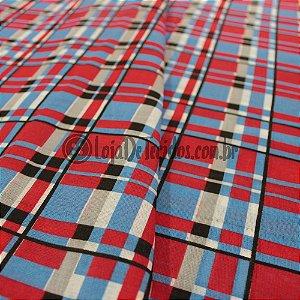Chita Estampada Xadrez Azul/Vermelho e Preto 1,50m de Largura