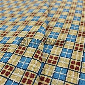 Chita Estampada Quadriculado Azul/Marrom/Bege 1,50m de Largura