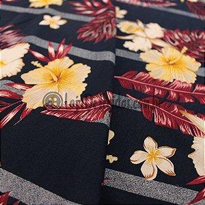 Viscolycra Estampada Floral Preto 1,60m de Largura