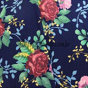 Viscolycra Estampada Floral Azul e Vermelho 1,50m de Largura