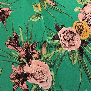 Viscolycra Estampada Floral Verde 1,50m de Largura