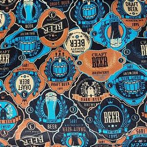 Jacquard Estampado Retrô Cervejas 1,40mt de Largura