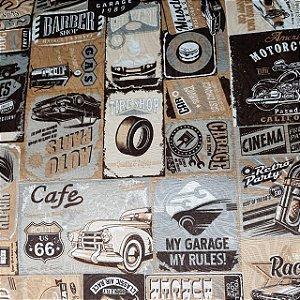 Jacquard Estampado Retrô Café 1,40mt de Largura